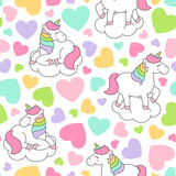 Cute pastel unicorn and heart seamless pattern background