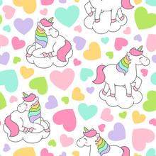 Cute Pastel Unicorn And Heart Seamless Pattern  Sticker