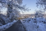 Cotswold lane in snow, Gloucestershire, England - 192291803