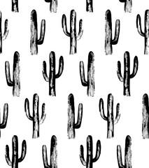 Black and white cactus. Sketch pattern. Botanical background
