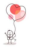 Cartoon Man Holding Up a big Heart Balloon - 192292283