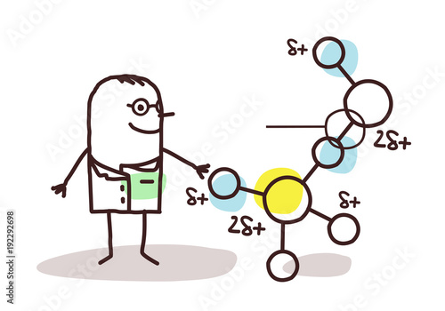 Cartoon Scientist with Molecule