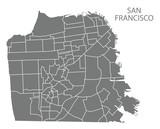 San Francisco city map with neighbourhoods grey illustration silhouette shape