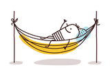 Cartoon Man Having a Rest in a Hammock - 192295255