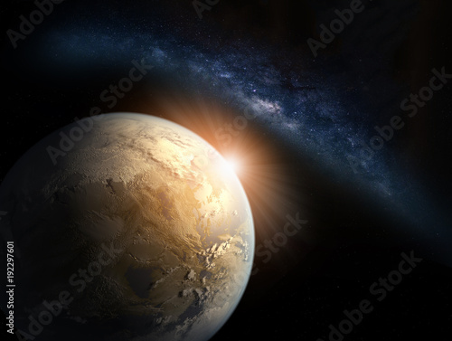 Papiers peints Morning Glory Landscape with Milky way galaxy. Sunrise and Earth view from space with Milky way galaxy. (Elements of this image furnished by NASA)