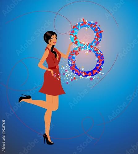 Kompozycja z kobietą w czerwonej sukience