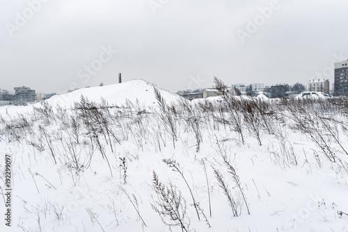 Staande foto Parijs terrain vague industriel en banlieue parisienne sous la neige
