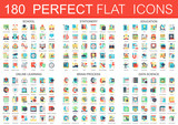 Fototapety 180 vector complex flat icons concept symbols of school, stationery, education, online learning, brain process, data science icons. Web infographic icon design.