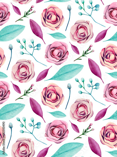 Roses pattern. Floral background. Watercolor flowers pink and blue  - 192300490