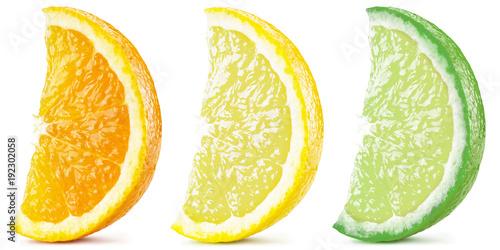 Three ripe citrus slices. File contains clipping path.