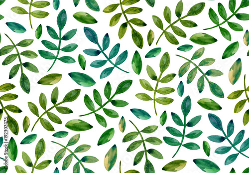 Watercolor green leaves pattern. Seamless eco ornament © Ann_ka