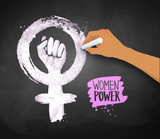 Womens Hand Drawing Feminism Protest Symbol Wall Sticker