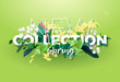 Bright spring design of an ad with a botanical bouquet of flowers, leaves and plant branches on a green background. Typography with the effect of 3d. Integrated inscription, vector illustration. - 192306240