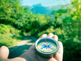 hiking with compass - 192306447