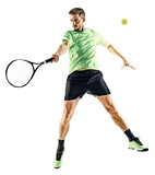 one caucasian  man playing tennis player isolated on white background - 192306634