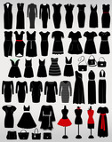 Collection of women's dresses and accessories on a light gray background