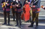 Croatian tamburitza musicians in traditional Croatian folk costumes - 192314669