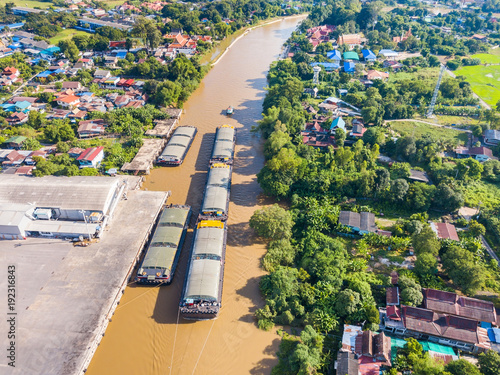 Fotobehang Thailand Aerial view of transportation barges
