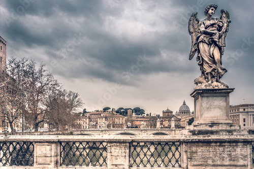 Ponte Sant Angelo over the river Tiber in Rome Italy Europe Winter Travel  Cities - 192317222
