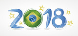 Year 2018 with the flag of Brazil in place of zero representing the presidential elections with stars around  - 192321049