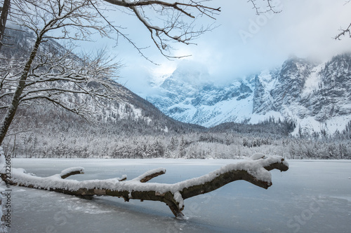 Fotobehang Grijs winter landscape austria salzkammergut langbathsee