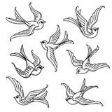 Set of flying bluebirds. Free birds.Symbol of hope - 192324868