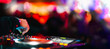 Music Background DJ Night Club Deejay Record Player Blurred Crowd Dancing