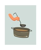 Hand drawn vector abstract modern cartoon cooking time fun illustrations icon with big pan with cream soup and woman hands holding scoop isolated on white background.Food cooking concept design - 192329492
