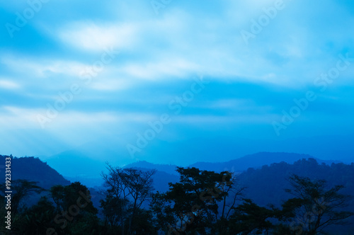 Fotobehang Thailand Blue hour Morning sunrise sky forest and mountain in Mon Cham, Chiang Mai, Thailand