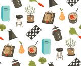 Hand drawn vector abstract modern cartoon cooking time fun illustrations icons seamless pattern with cooking equipment,,food and kitchen utensils isolated on white background - 192333210