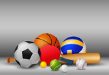 Sport Equipment    And Grey Colour   Illustration Wall Sticker