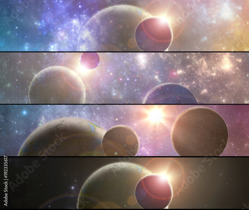 Set of four banners with 3D illustrated fantasy space alien planets