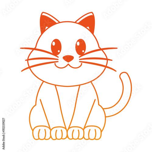 orange line happy cat cute animal character