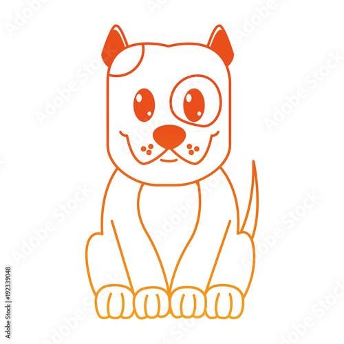 orange line happy dog cute animal character