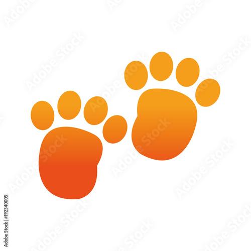 orange human footprint with toes mark sign