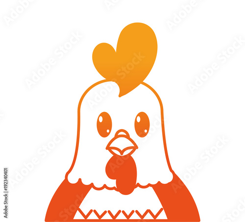 orange line adorable rooster cute animal character