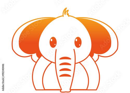 orange line adorable elephant cute animal character