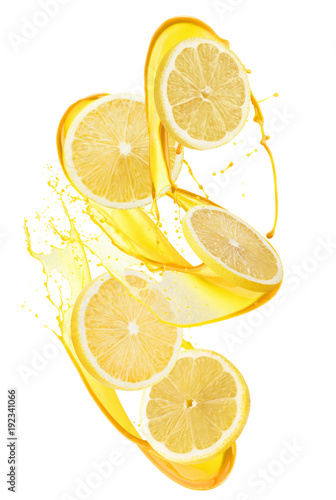 Foto op Canvas Sap lemon slices in juice splash isolated on a white background