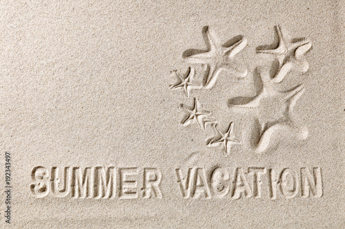Foto Murales last minute and summer subtitles on the sand for advertising or text