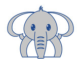 line color adorable elephant cute animal character - 192346083