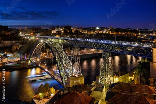 Poster nocne widoki Porto, Portugalia