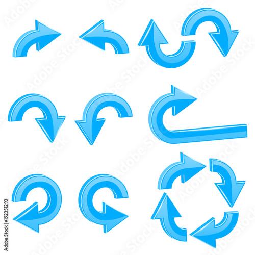 Blue 3d arrows. Different directions