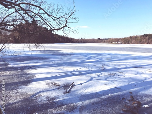 Foto op Plexiglas Pool Frozen Lake in Winter Landscape with Snow