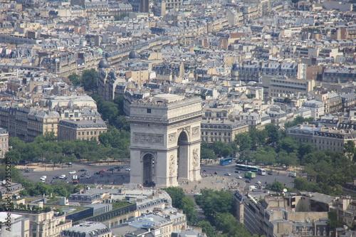 Staande foto Parijs View from the Eiffel Tower. Arc de Triomphe. Paris, France