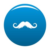 Fluffy mustache icon vector blue circle isolated on white background  - 192356095