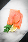 marble dish with smoked salmon slices - 192356865