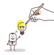 Drawing Big Hand - Cartoon Businessman with Light Bulb