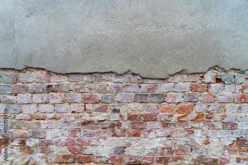 Fotobehang Baksteen muur Mauer / Mauer mit Ziegelstein als Hintergrund
