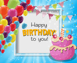 Color Glossy Happy Birthday Balloons Banner Background Vector Illustration - 192360020