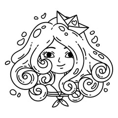 Girl with curly hair. Sea girl. Girl with blue hair. Paper boat. Isolated objects on white background. Vector illustration. Coloring pages. Black and white illustration.